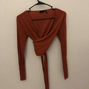 urban outfitters burnt orange cropped wrap top